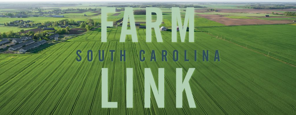 Ariel image of a green field with the South Carolina Farm Link logo in the center